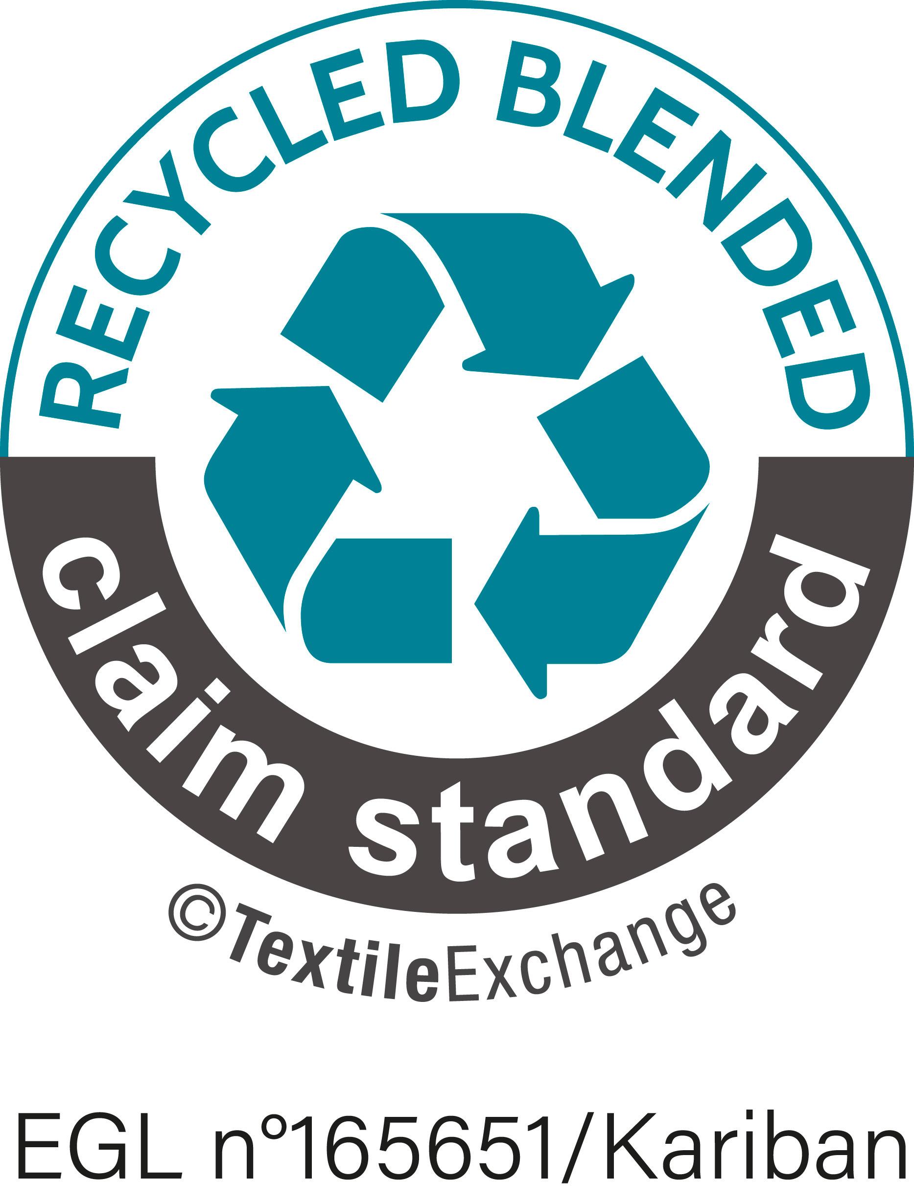 Content Standard-Zertifizierung Nr. 165651 von Ecocert Greenlife. Artikel, die mit mindestens 5 % und höchstens 95 % recycelten Rohstoffen in Kombination mit anderen Rohstoffen hergestellt werden.
