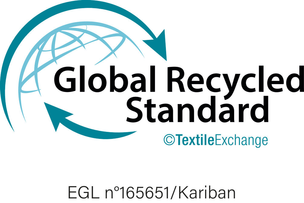 Global Recycled Standard issued by Ecocert Greenlife, which allows for the control of processing, and social and environmental product practices. Issued by Ecocert Greenlife, Licence N° 165651.