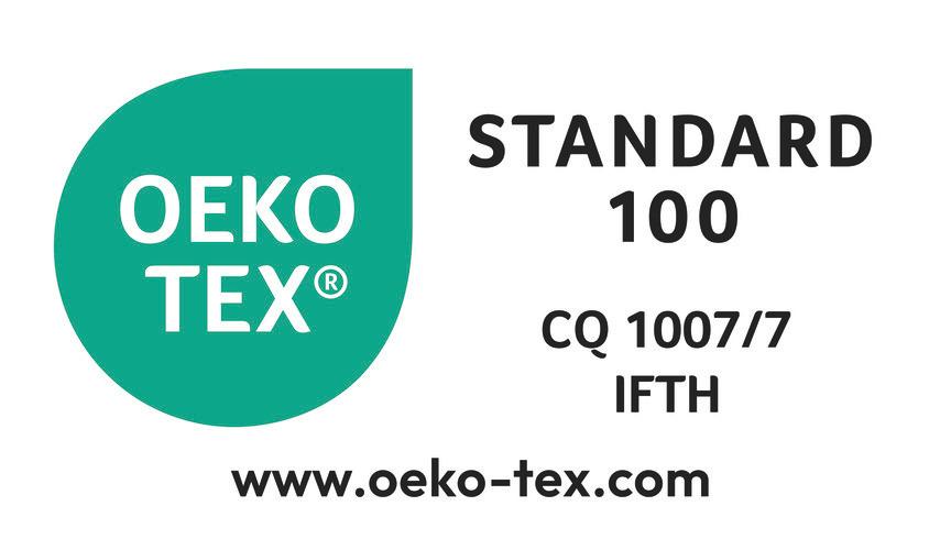 STANDARD 100-Zertifizierung von OEKO-TEX – Zulassungsnr. 1007/7. Gewährleistet, dass die Artikel frei sind von schädlichen Stoffen und solchen, die ein Risiko für Gesundheit und Umwelt darstellen.