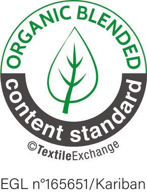 Organic Content Standard-Zertifizierung Nr. 165651 von Ecocert Greenlife. Artikel, die mit mindestens 5 % biologischen Rohstoffen in Kombination mit herkömmlichen oder synthetischen Rohstoffen hergestellt werden.